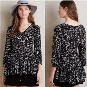 Anthropologie - Maeve - Black & White Button Top